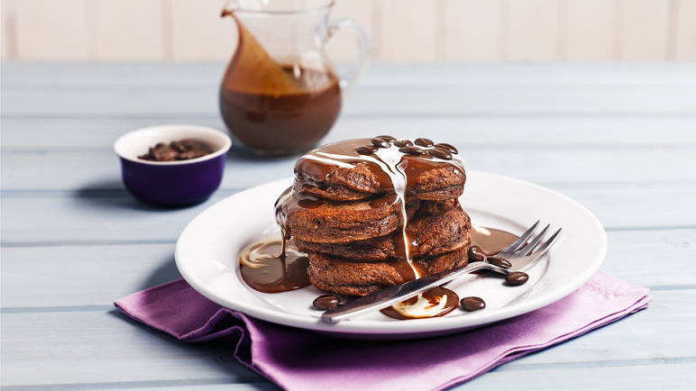 Chocolate pancakes with chocolate sauce