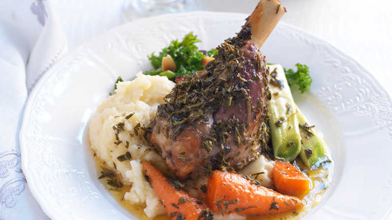 Roasted herb & cumin lamb shanks