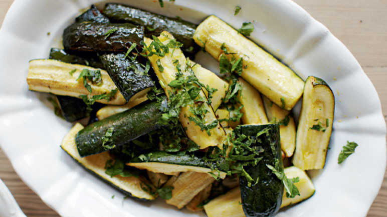 Roast courgettes