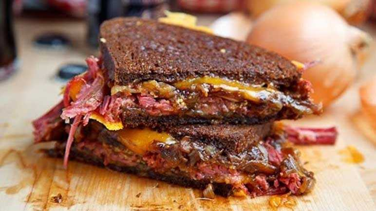 Corned beef and Guinness onion sandwich