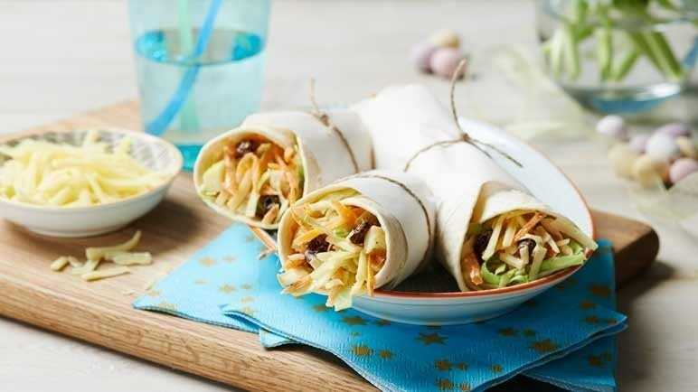 Cheddar and fruited coleslaw wraps
