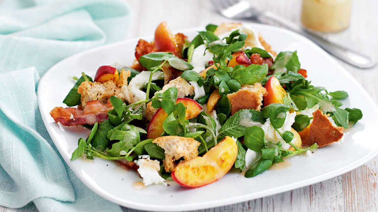 Peach, pancetta and mozzarella salad