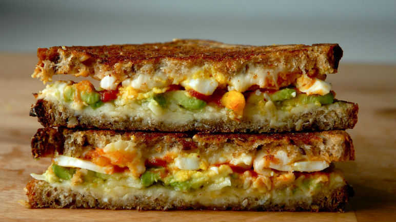 The avocado, egg and Sriracha grilled cheese sandwich