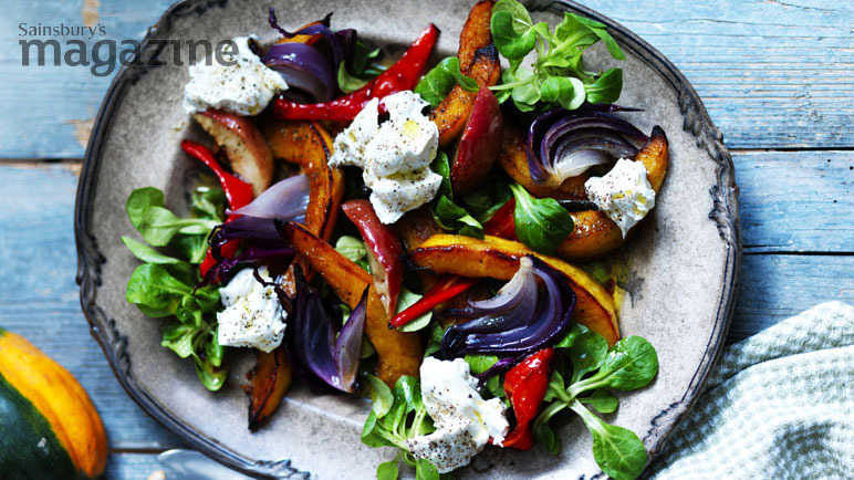 Roasted squash and apple salad with goats' cheese