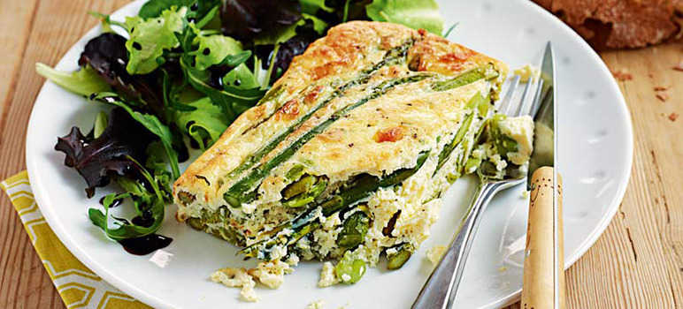 Asparagus, broad bean & mint quiche