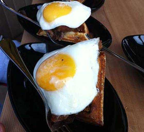 Fried duck eggs at the Duck and Waffle
