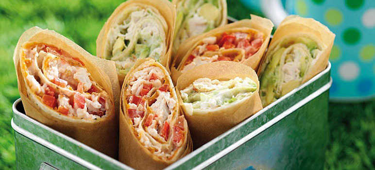 Red and green picnic wraps