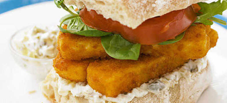 Posh fish finger sandwiches