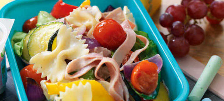 Roasted vegetable & ham pasta salad