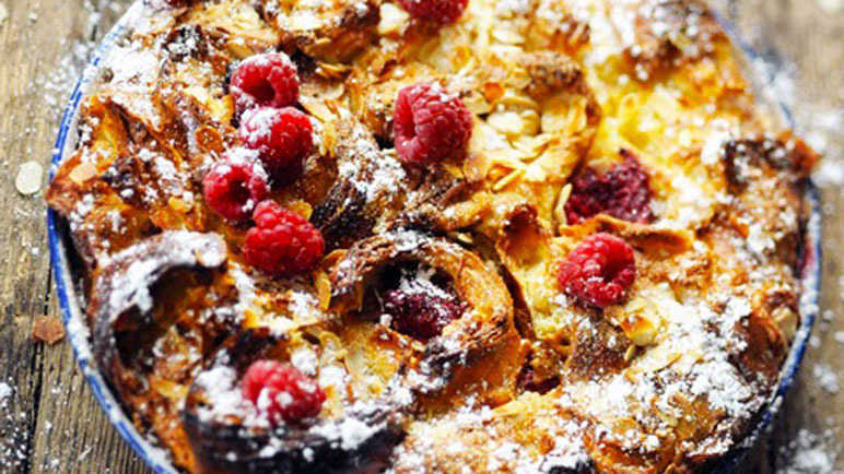 Apple and raspberry croissant French toast cake