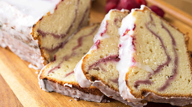 Raspberry swirl and Greek yoghurt cake