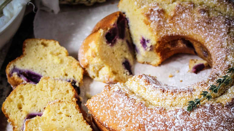 Naked grape, lemon and thyme bundt cake