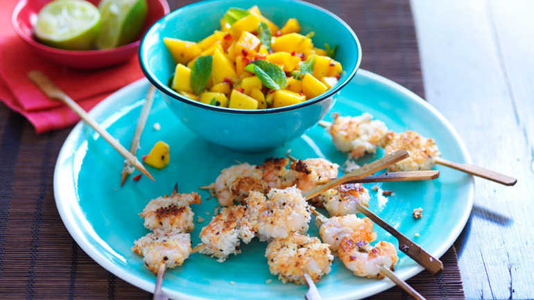 Coconut and black pepper prawns with mango salsa
