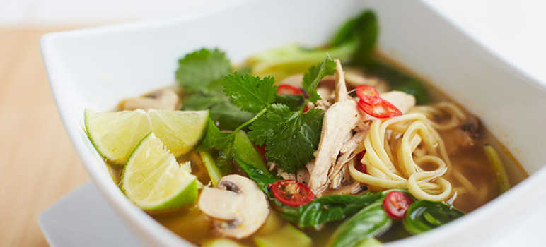 Thai pork and pak choi noodle soup