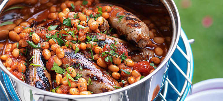 Boston baked beans with sausages