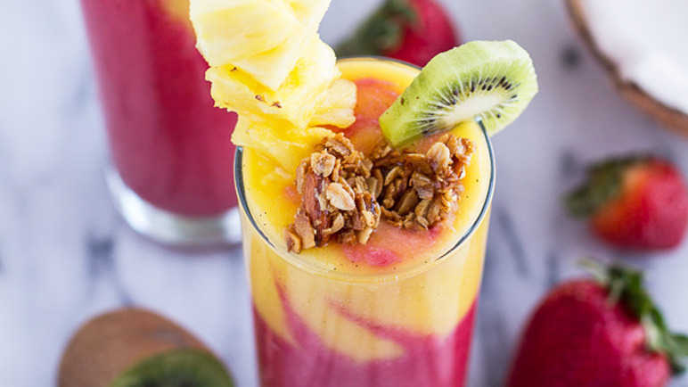 Tropical fruit breakfast smoothie recipe