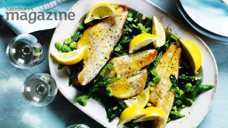 Sea bass with asparagus broad beans and spinach