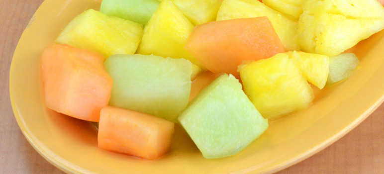 Melon and pineapple chunks