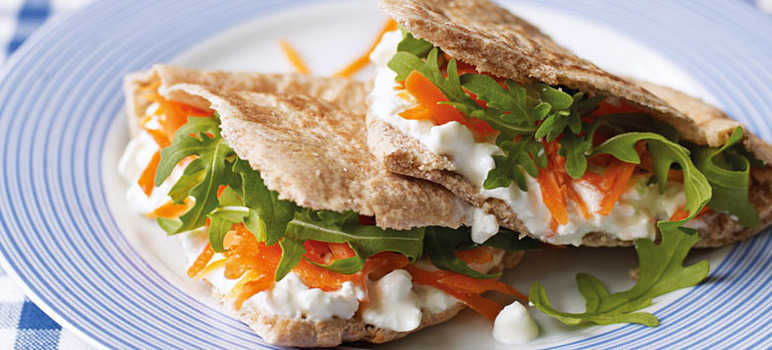 Cottage cheese grated carrot rocket pittas