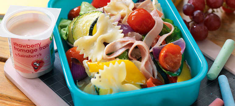 Roasted vegetable and ham pasta salad