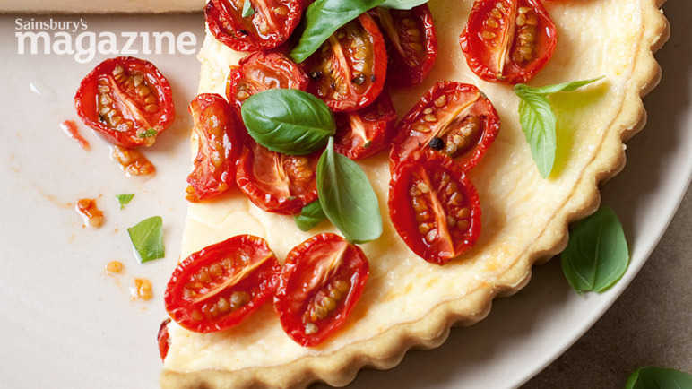 Slow-roasted tomato and parmesan tart
