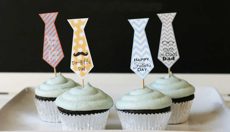 Brighten his cupcakes with jazzy tie toppers