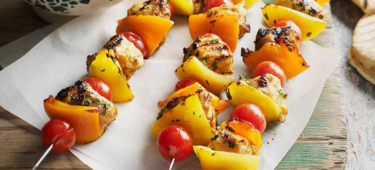 Curried chicken kebabs