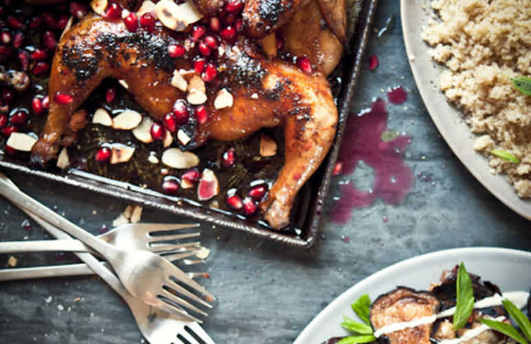 roasted pomegranate spatchcock chicken