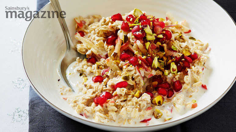Image: Pomegranate and pistachio bircher-style muesli