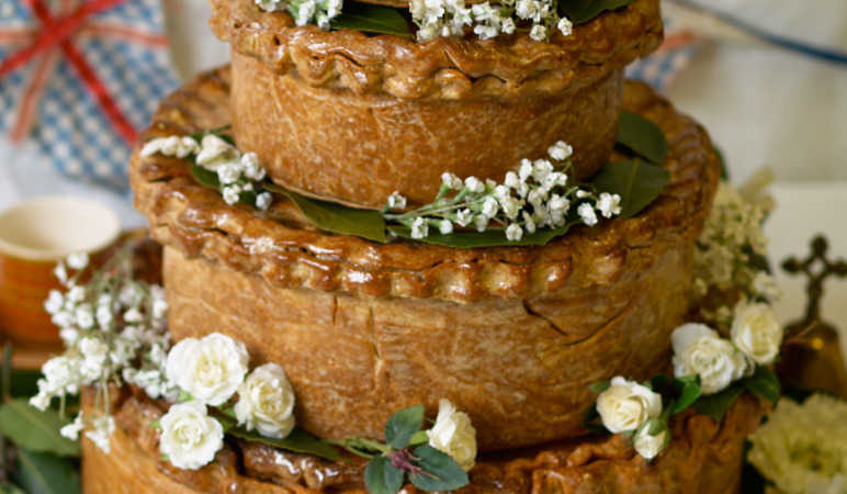 Pork pie wedding cake