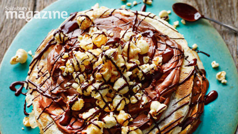 Chocolate popcorn pancake stack