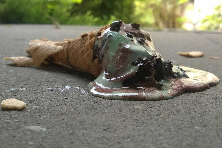 Melted Cornetto on pavement