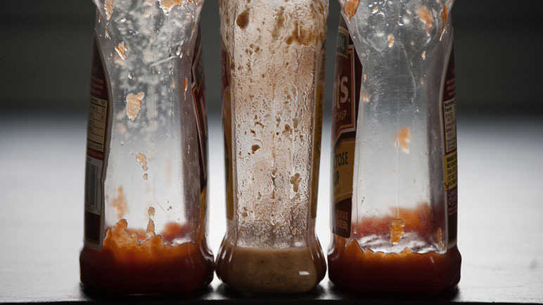 Empty ketchup bottles