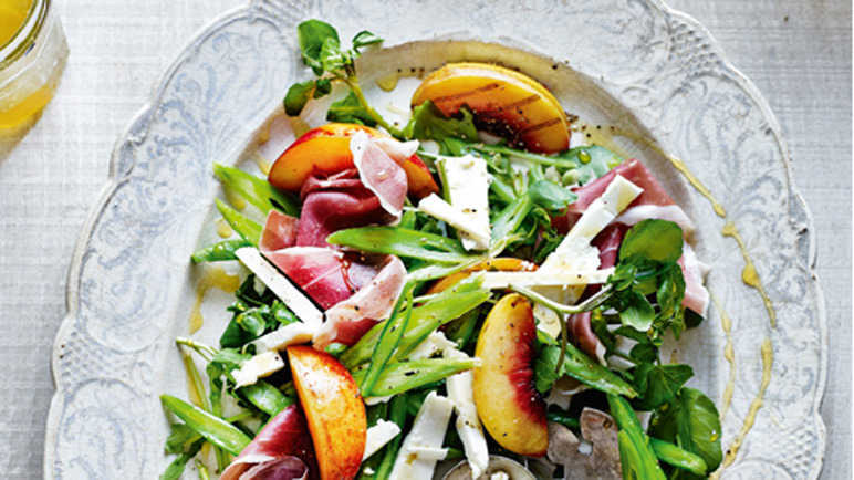 Grilled nectarine, parma ham and runner bean salad