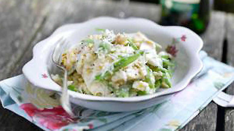Smoked haddock and runner bean risotto