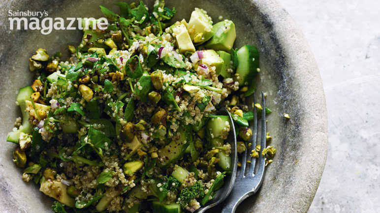 Very green quinoa salad with pomegranate molasses
