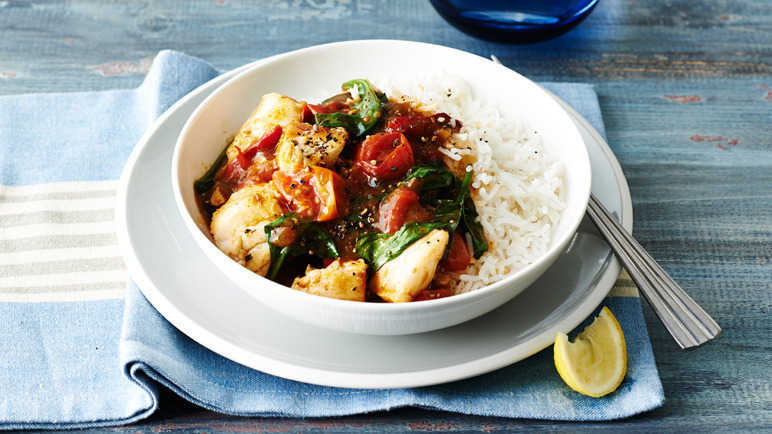 Cod & spinach fish curry