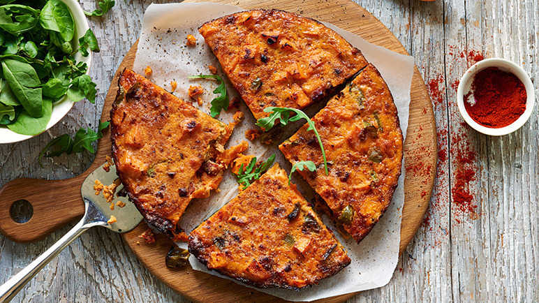 Spanish tortilla with sweet potato and chorizo