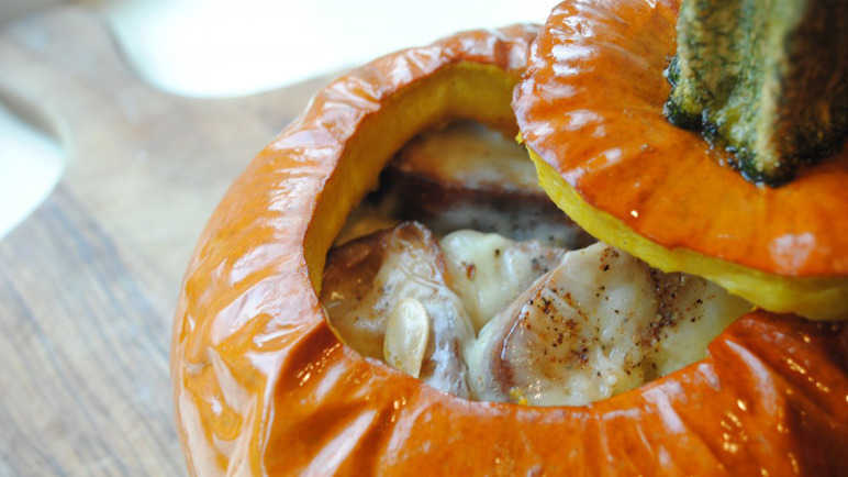 "ROASTED SUGAR PUMPKINS WITH CHEESE ""FONDUE"""