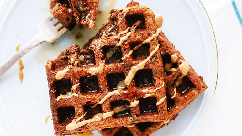 Image: Gluten-free buckwheat waffles and almond butter