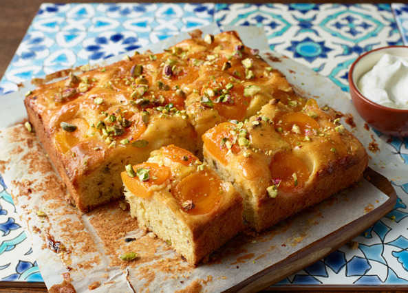 Sticky apricot and pistachio cak image