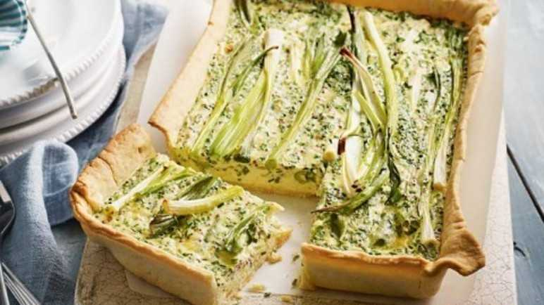 Spring onion and mustard tart