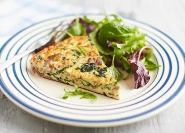 Spiced lamb and spinach frittata