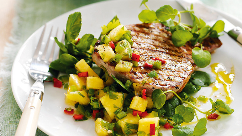 Seared tuna steaks with pineapple salsa image