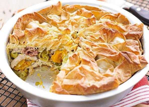 Roast chicken, squash and leek filo pi image