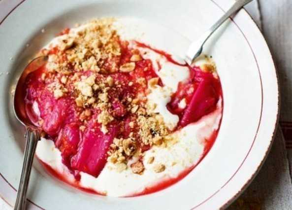 Rhubarb with yogurt and nutty streuse image