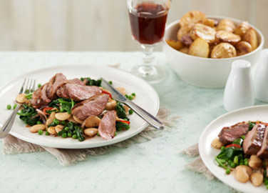 Pomegranate, honey and orange duck breasts with roasted new potatoe image