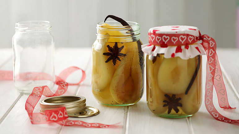 Poached bottled pears