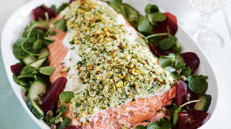 Pistachio-crusted side of salmo image