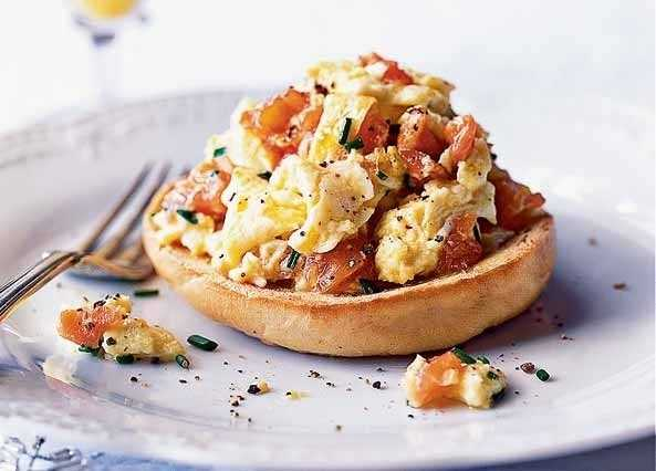 Smoked salmon and scrambled egg image